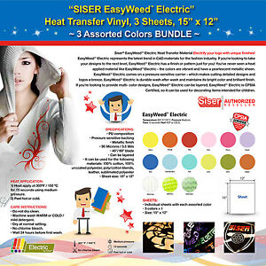 Siser Easyweed Electric Heat Transfer Vinyl 3 Sheets 15 x12 3 Assorted Colors