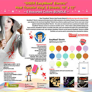 Siser Easyweed Electric Heat Transfer Vinyl 6 Sheets 15 x12 6 Assorted Colors