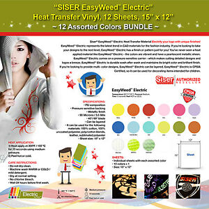 Siser Easyweed Electric Heat Transfer Vinyl 12 Sheets 15 x12 12 Assorted Colors