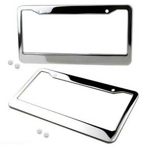 2 Chrome Stainless Steel License Plate Frame Tag Cover Screw Cap Silver Color
