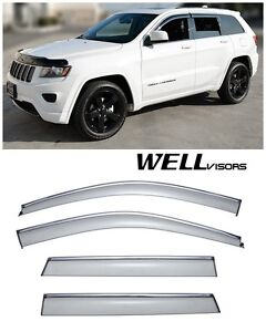 For 11 21 Jeep Grand Cherokee Wellvisors Side Window Visors W Chrome Trim
