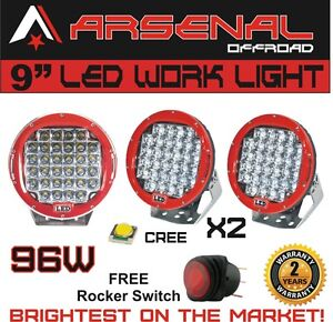 2xred Round 9inch 96w Cree Led Driving Spot Work Light 4wd Offroad Hid Suv