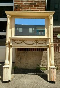 Reclaimed Antique Fireplace Mantel French Provincial With Columns Lowered