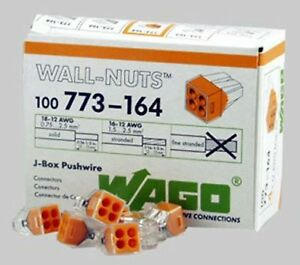 Wago 773 164 4 pin Push Wire Connectors For Junction Boxes 100 Pk