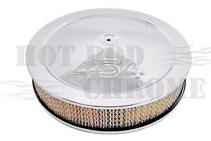 14 Chrome Muscle Car Air Cleaner Set 454 Logo Fits 5 1 8 Carb Neck Paper