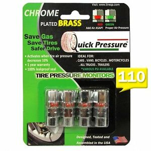 Quick Pressure000110 Chrome Plated Brass 110 Tire Monitoring Valve Cap 4 Pack