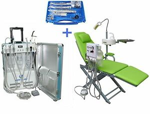 Portable Dental Unit With Air Compressor Dental Chair Handpiece Kit 2h 4h