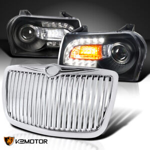 For 2005 2010 Chrysler 300 Black Led Projector Headlights chrome Vertical Grille