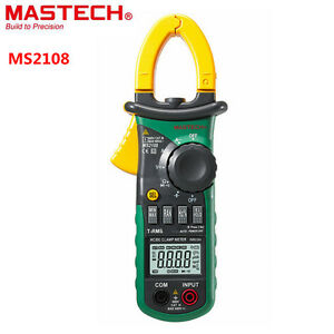 Mastech Ms2108 Digital Clamp Multimeter Lcd Voltmeter Ammeter Ohm 600v 600a Test