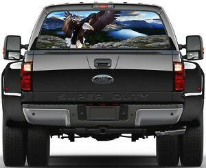 Mountains Lakes Eagle Rear Window Graphic Decal Sticker Tint Truck Suv