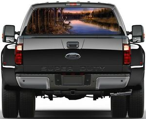 Deer House River At Sunset Rear Window Graphic Decal Truck Suv Van Car