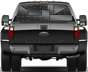 Reveted Black Metal Rear Window Graphic Decal For Truck Suv Vans
