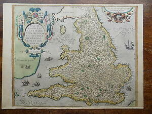 1573 Ortelius Lhuyd Map England Wales Genuine Antique Old Ireland Scotland 1575