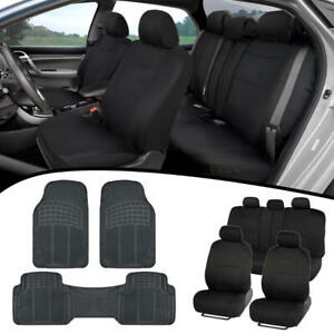 Black Car Seat Covers Builtin Rear Bench Headrests heavy Duty Rubber Floor Mats
