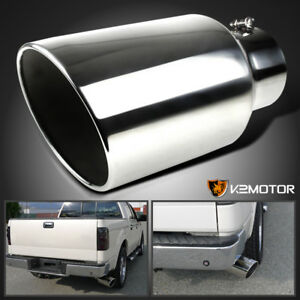 5 Inlet 8 Outlet 15 Long Chrome S S Roll Edge Sport Bolt On Truck Exhaust Tip