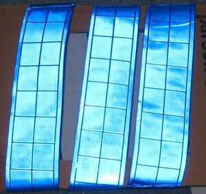 Blue Gloss Reflective Sew On Tape Pvc 3 x2