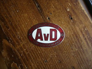 Vintage Automobilclub German Car Club Badge Avd Deep Red Enamel Mercedes