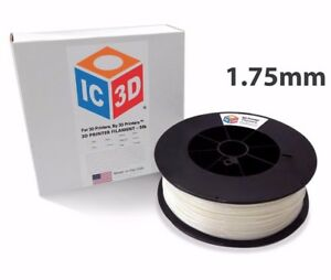 Ic3d 1 75mm 5lb 2 3kg White Pla 3d Printer Filament Made In Usa
