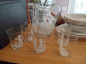 Antique Victorian Handblown Handpainted Tall Pitcher 5 Glasses