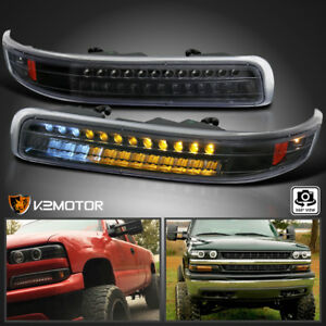 1999 2002 Silverado 2000 2006 Tahoe Suburban Black Led Bumper Signal Lights Pair