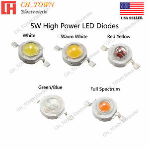 5w Watts High Power Smd Led Chip Cob Lamp White Red Blue Green Rgb Uv Lights
