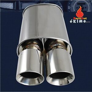 Spunlocked Exhaust Muffler Cap Double Wall Dual Slant Tip Polished