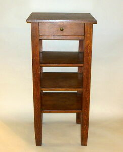 Tall Antique Arts Crafts Mission Period Dark Oak Bookcase Shelf W One Drawer