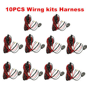 10 Wiring Loom Harness Kit Led Work Light Bar Offroad Fuse Relay Switch Holder