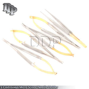 New 5 Castroviejo Micro Scissor Needle Holder Str Cvd Forceps Dental Eye Ey 008