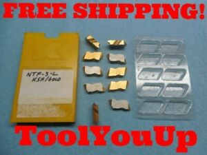 10 Pcs New Kennametal Ntf 3l K5h Gold Carbide Top Notch Threading Inserts