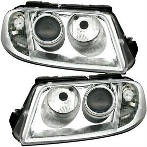 Clear Finish Headlights Set Left Right For Vw Passat 3bg 00 05 Depo