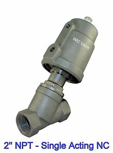 Pneumatic Air Actuated Angle Seat Valve Single Acting Spring Return Nc 2 Inch