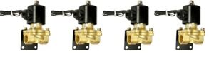 Air Ride Suspension Brass Valves Four 3 8 npt Mounting Brackets Air Bag System