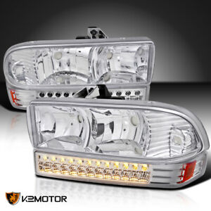1998 2004 Chevy S10 Blazer Crystal Headlights Led Bumper Signal Lights Lamp Pair