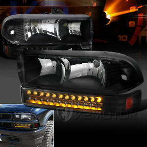 1998 2004 Chevy S10 Blazer Black Clear Headlights led Bumper Signal Lights Pair