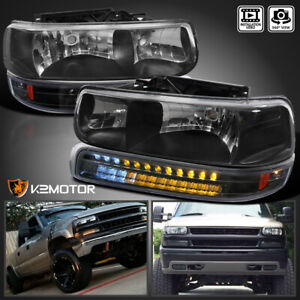 99 02 Chevy Silverado 00 06 Tahoe Suburban Black Headlights led Bumper Lights