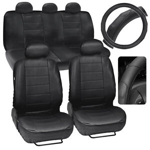Car Seat Covers Pu Leather Black Deluxe Stitching Steering Wheel Cover