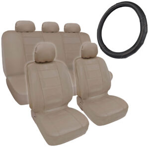 Beige Tan Synth Leather Seat Covers For Car Stitched Grip Steering Wheel Cover
