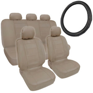 Car Seat Covers Steering Wheel Cover Comfy Faux Leather Beige Tan
