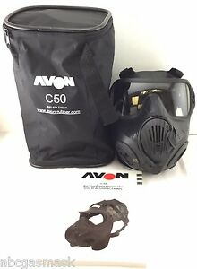 Avon C50 Cbrn Gas Mask 40mm Nato Twin Port Apr Respirator Large Comms Mkii