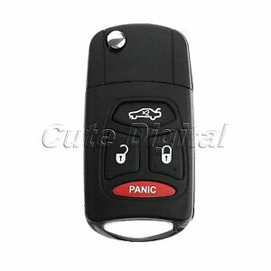 Flip Key Shell Remote Key Case Fob With Panic For Dodge Chrysler 300 Aspen Jeep