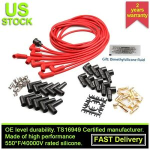 8mm Universal Red Silicone Spark Plug Wire Set For Male Hei 90 Degree Boots 8cyl