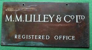 Genuine Brass Vintage Industrial Antique Sign Plaque Lilly Co Ltd Reg Office