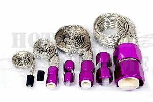 Braided Steel Hose Sleeving Kit Vacuum Line Fuel Line Radiator Heater Purple