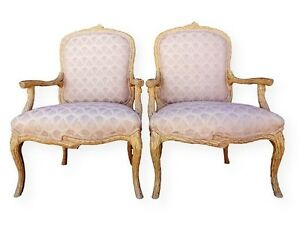Vintage Pair Louis Xv Style Faux Bois Armchairs Fauteuils Upholstered Regency