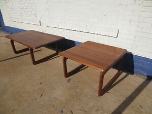 Tarm Stole Danish Teak Wood Coffee Table And Matching End Table Lamp Table