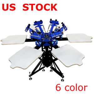 6 Color 6 Station Silk Screen Printing Machine Press Shirt Printer Double Rotary