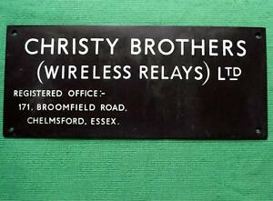 Genuine Brass Vintage Industrial Antique Sign Plaque Christy Wireless Relays