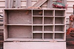 Vintage Distressed Wooden Box With Cubbies Use As Organizer Or Display