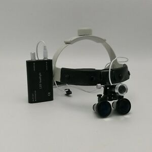 3 5x Headband Binocular Dental Surgical Loupes With 3w Led Headlight New
